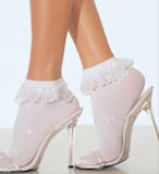 Sock, Anklet with Lace Ruffle